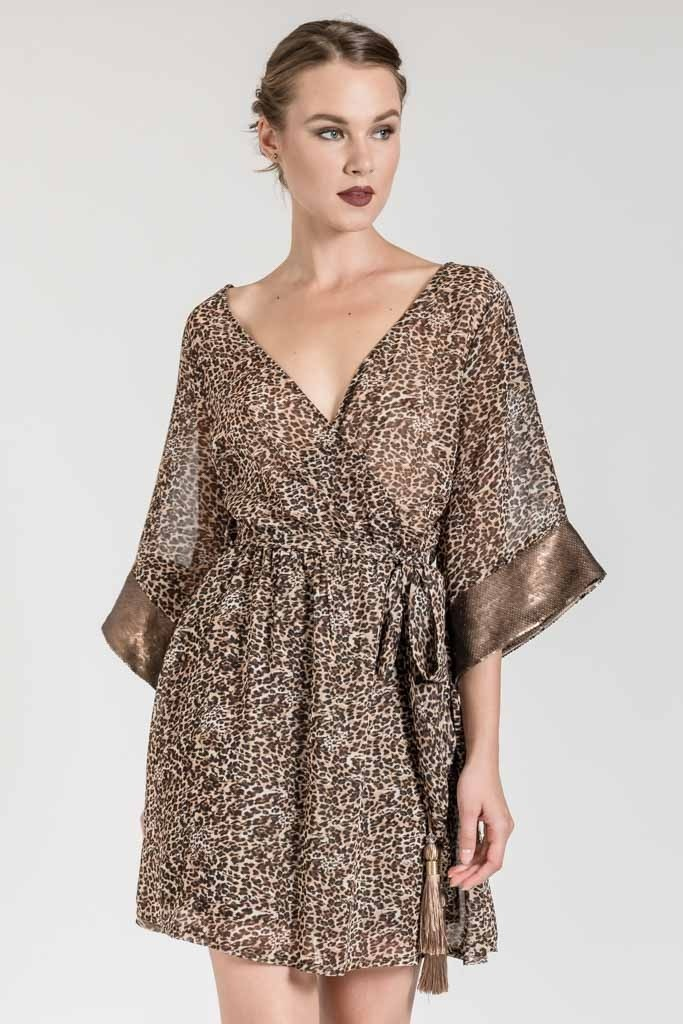 MINI LEOPARD WRAP DRESS WITH SEQUIN DETAILS