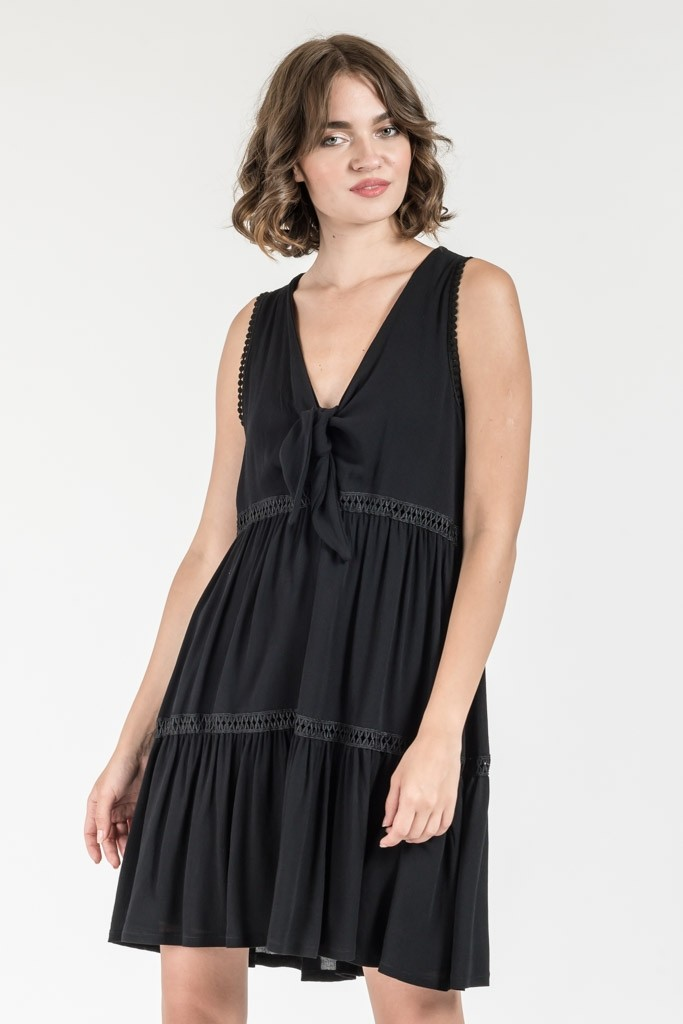 ΜΙΝΙ MONOCHROME DRESS WITH TIE