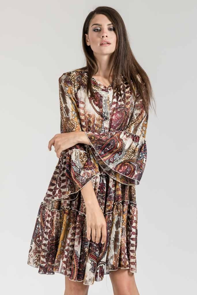 MINI PRINTED LOOSE DRESS WITH BELL SLEEVES