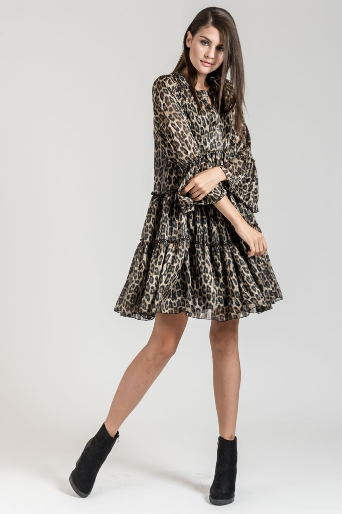 Mini Loose Printed Dress With Bell Sleeves - Dresses - Clothes  0f2e23e64