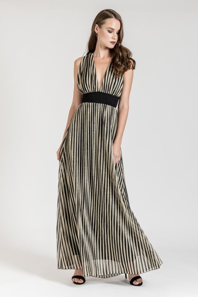 OCCASION METALLIC STRIPED MAXI DRESS