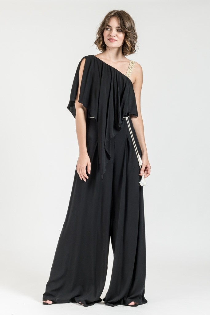 ONE RUFFLE SLEEVE JUMPSUIT