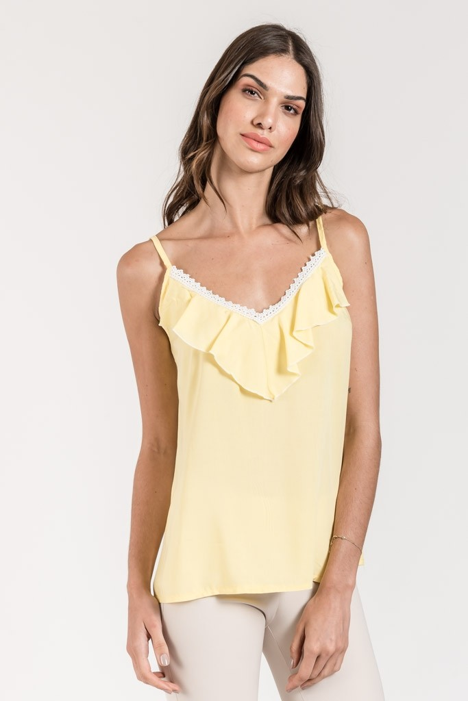 RUFFLE STRAP TOP WITH LACE