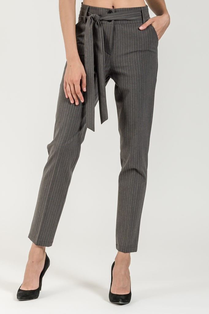 HIGH WAISTED STRIPED TROUSERS WITH BELT