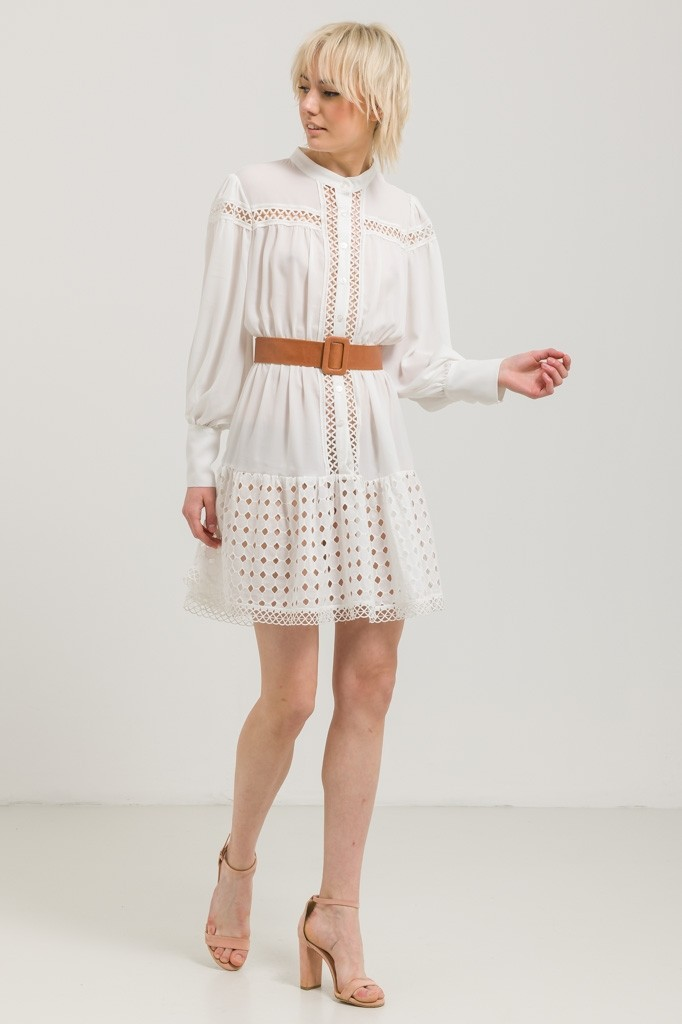 WHITE CHIFFON DRESS WITH BUTTONS