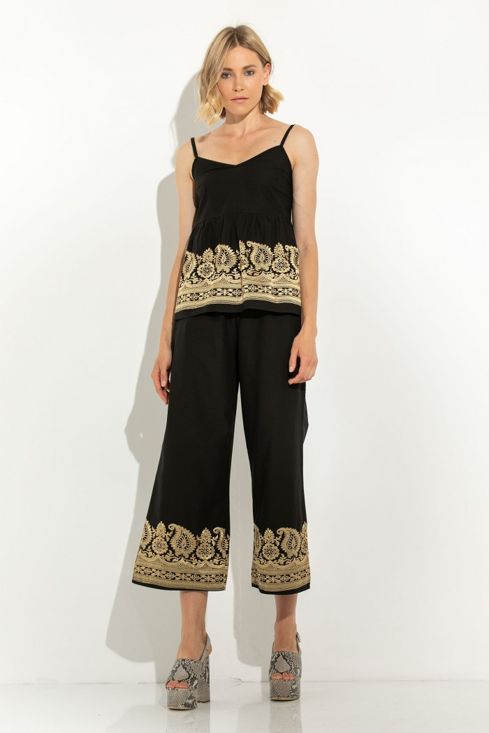 EMBROIDERED ZIP CULOTTE
