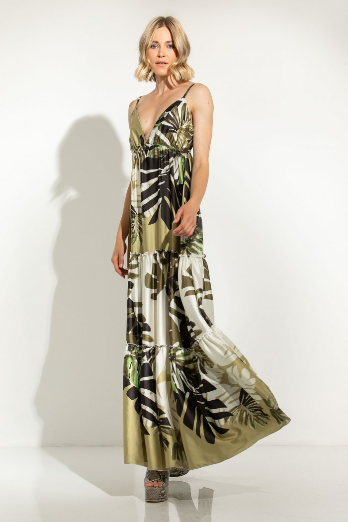SATIN MAXI DRESS WITH OPEN BACK