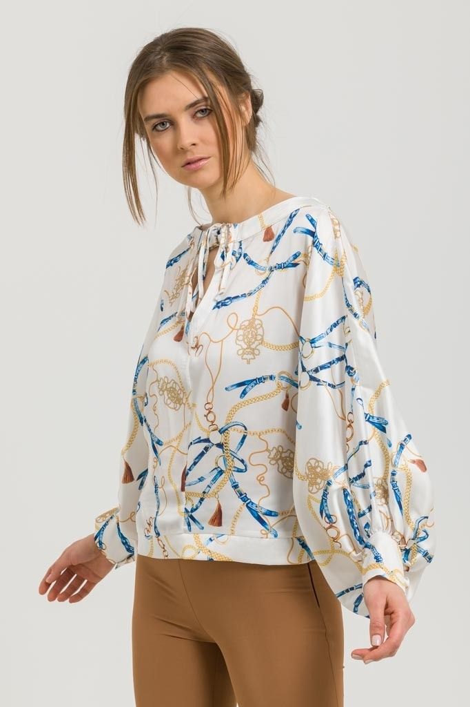 PRINTED SATIN-LIKE BLOUSE