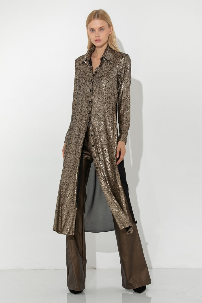 GOLD SEQUINNED CARDIGAN