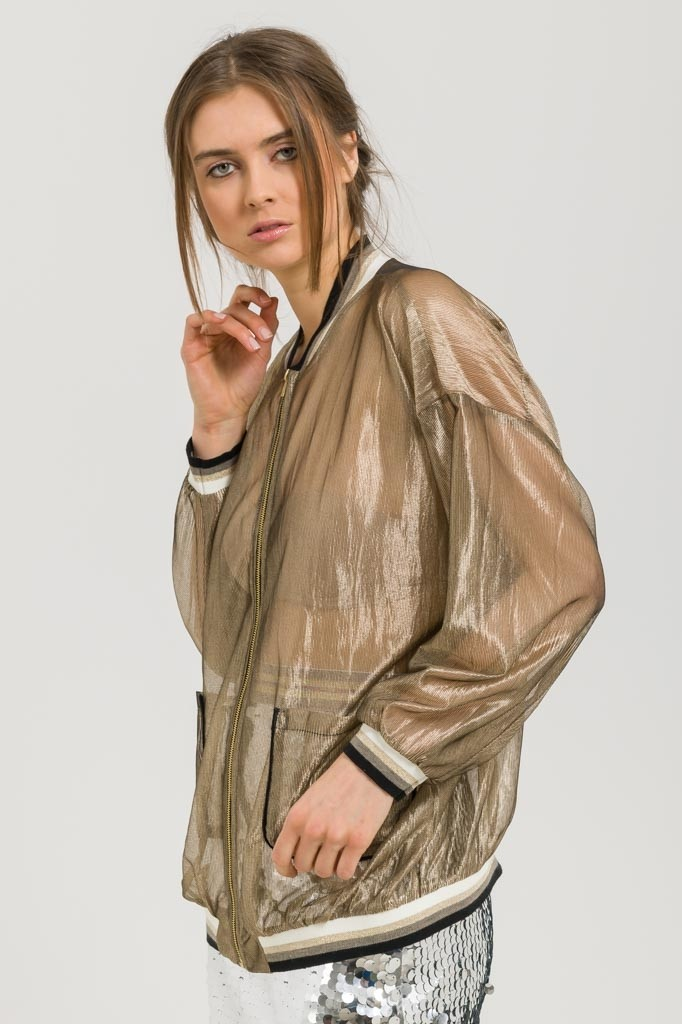 SHEER METALLIC ORGANZA CARDIGAN