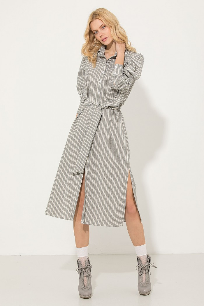 MIDI STRIPED SHIRT DRESS
