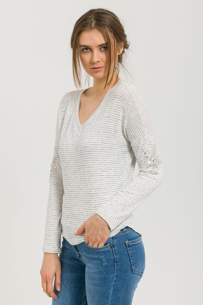 STRIPED TOP WITH SEQUIN STARS