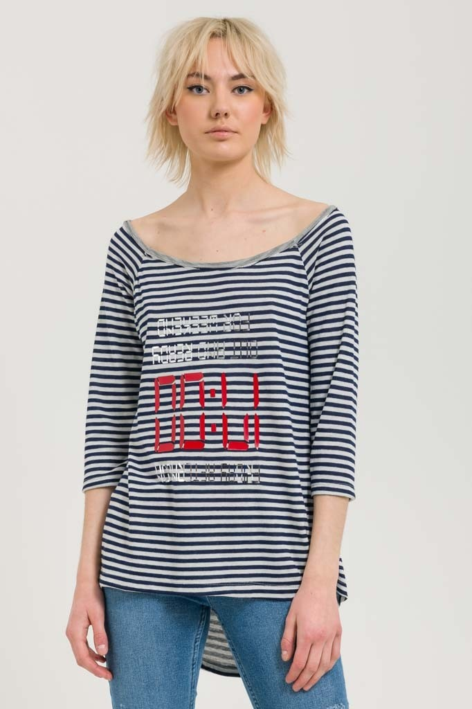 STRIPED LONG TOP