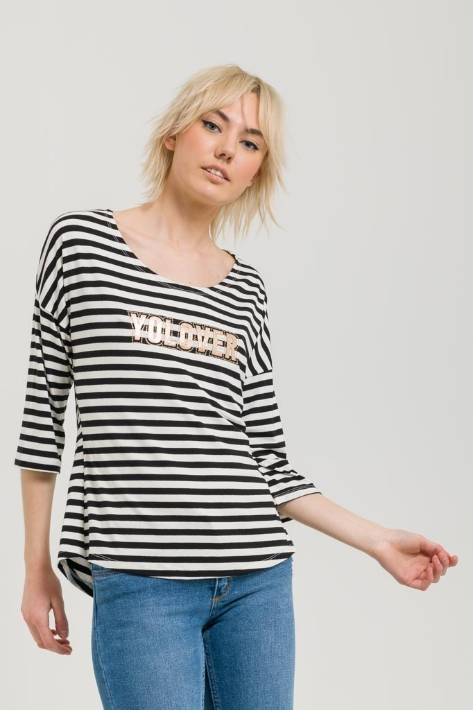 STRIPED TOP WITH PRINT