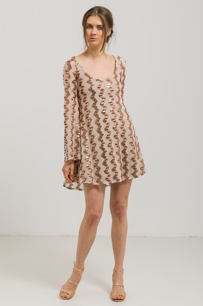 LONGSLEEVE DRESS WITH SEQUINS