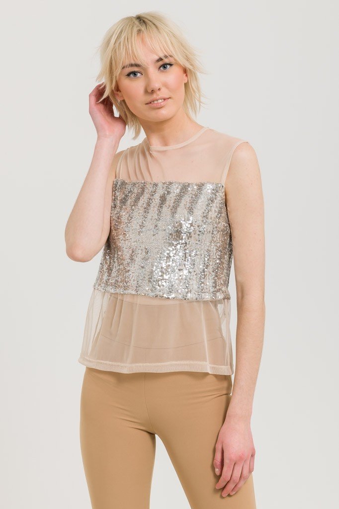 SLEEVELESS TULLE BLOUSE WITH SEQUINS