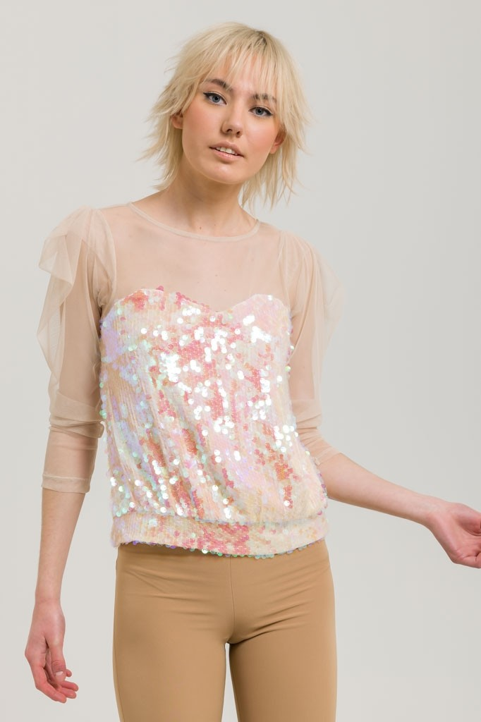 TULLE BLOUSE WITH SEQUINS