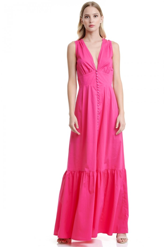 BUTTON FRONT LONG POPLIN DRESS