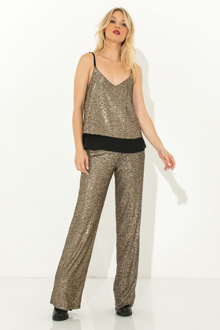 HIGH WAIST SEQUIN TROUSERS