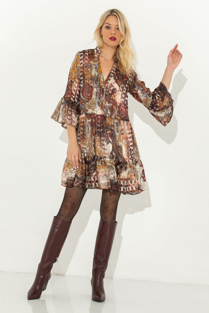 PRINTED LOOSE MINI DRESS-M-brown
