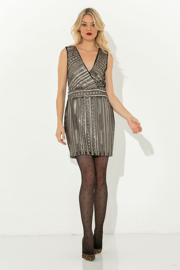 WRAP SEQUIN MINI DRESS-L-black