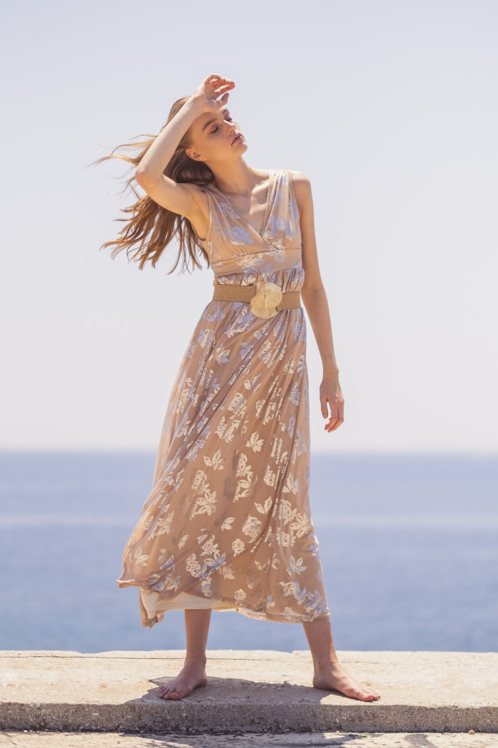NUDE MAXI DRESS WITH SILVER PRINT