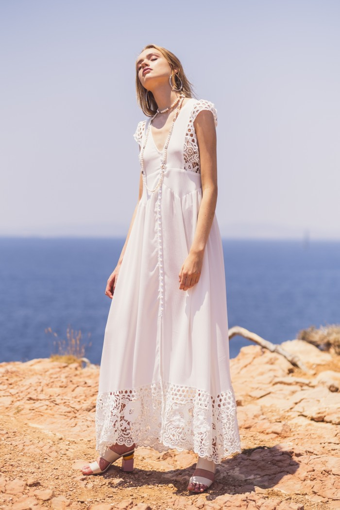 WHITE BUTTON-UP MAXI DRESS