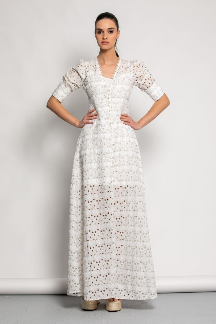 EMBROIDERED SHIRT DRESS -M-off_white