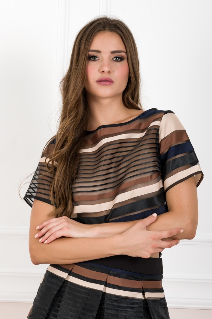 LOOSE CROP STRIPED TOP