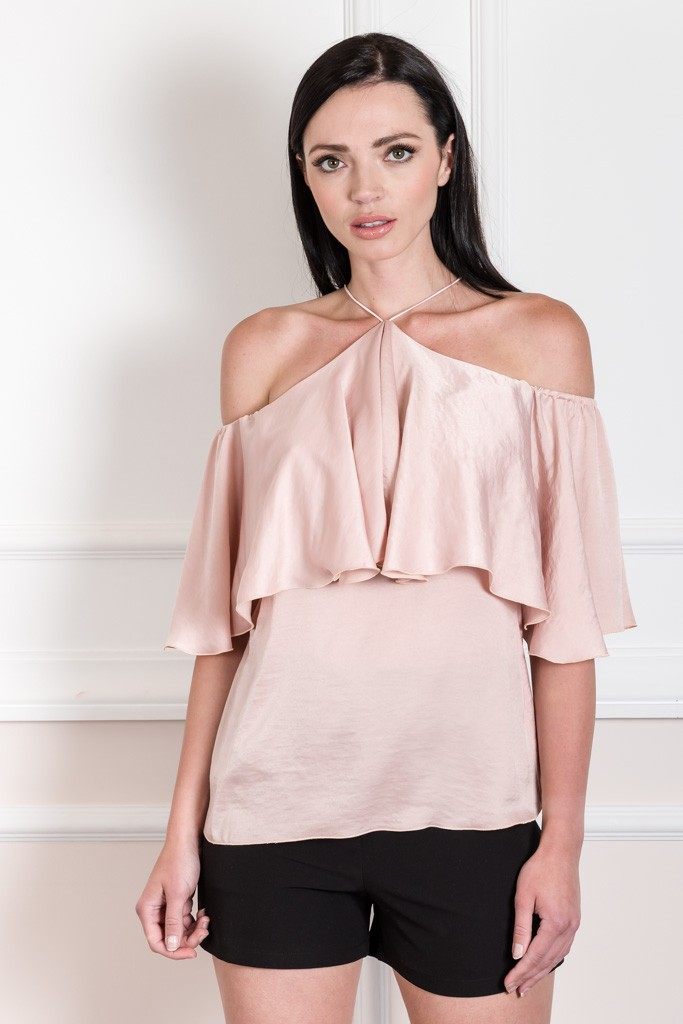 EVE KAY CROSS NECK SATIN-LIKE TOP WITH RUFFLE