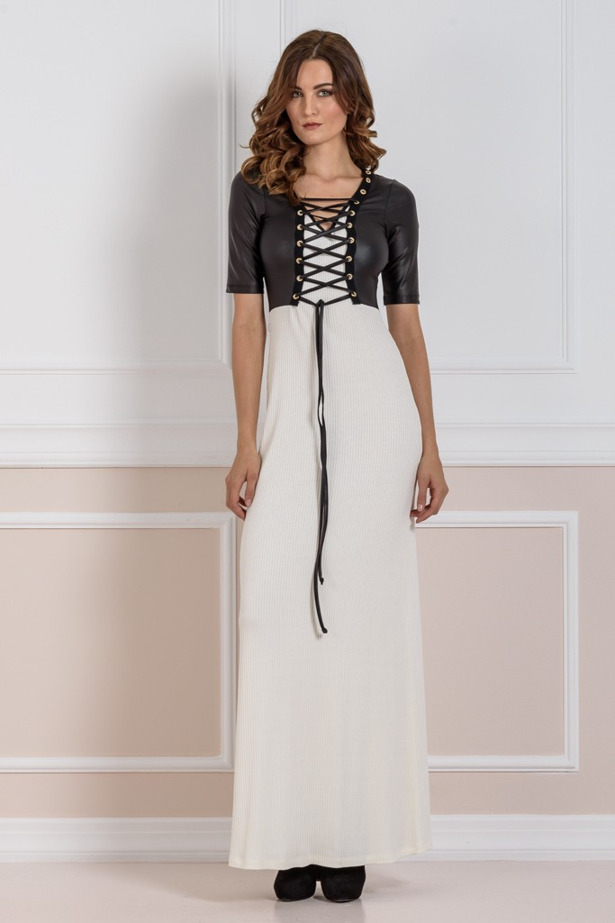 MAXI DRESS WITH FAUX LEATHER DETAILING