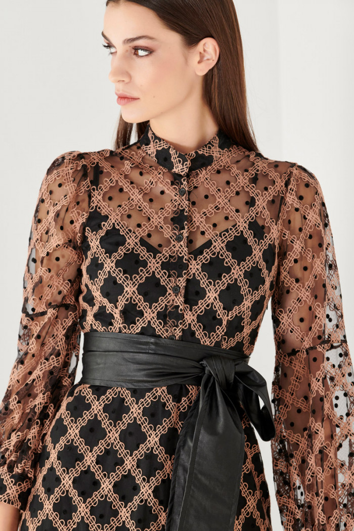 EMBROIDERED POLKA DOTS LONG TULLE DRESS