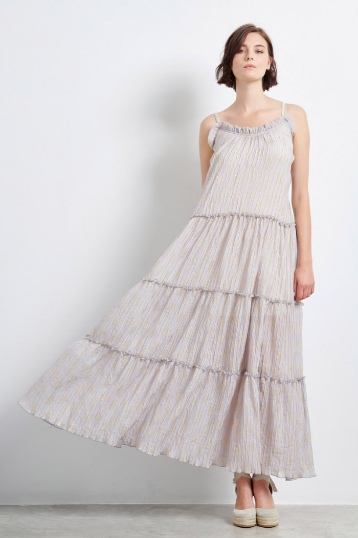 PLEATED MOUSSELINE MAXI DRESS