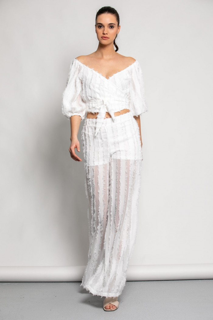 WIDE LEG TROUSERS WITH FRINGES