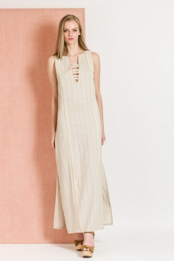 MAXI LINEN STRIPED DRESS