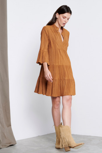 PLEATED ALCANTARA DRESS