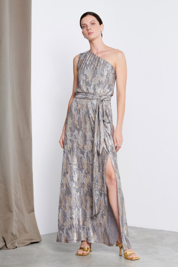 ONE SHOULDER PLEATED METALLIC DRESS