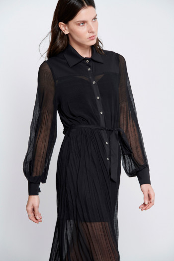 PLEATED CHIFFON SHIRT DRESS