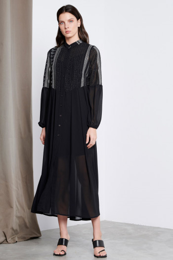 LONG SHIRT DRESS WITH BEADS AND SEQUINS DECORATION