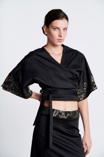 WRAP POPLIN SELF-TIE TOP