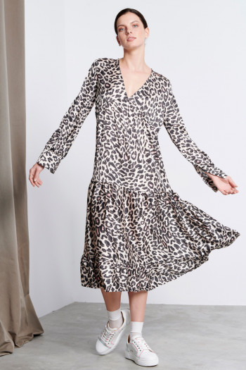 ANIMAL PRINT SMOKE MIDI DRESS