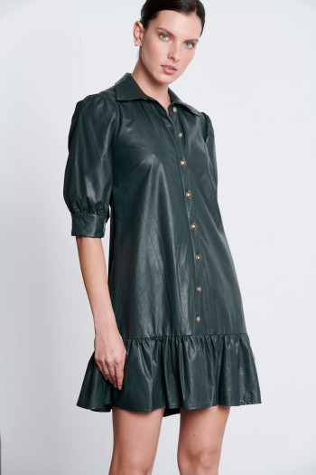 ECO LEATHER SHIRT DRESS