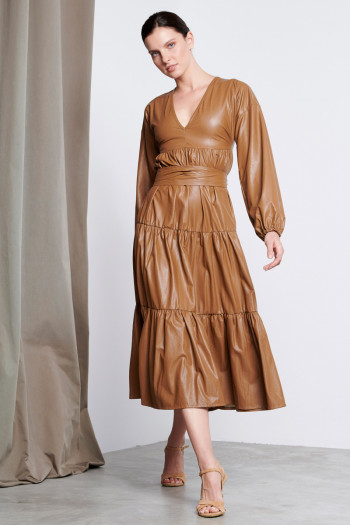 RUFFLE ECO LEATHER DRESS