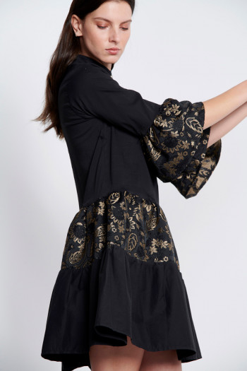 BLACK FLORAL BROCADE POPLIN DRESS