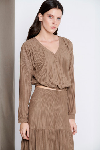 PLEATED ALCANTARA TOP