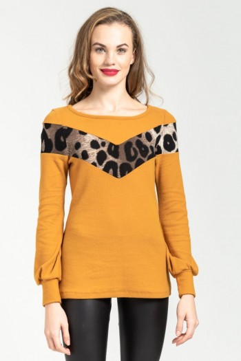 MONOCHROME BLOUSE WITH LEOPARD DETAILS