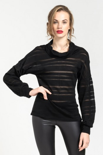 BLOUSE WITH MESH STRIPES