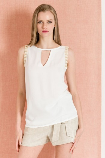 SLEEVELESS TOP WITH LACE DETAILS