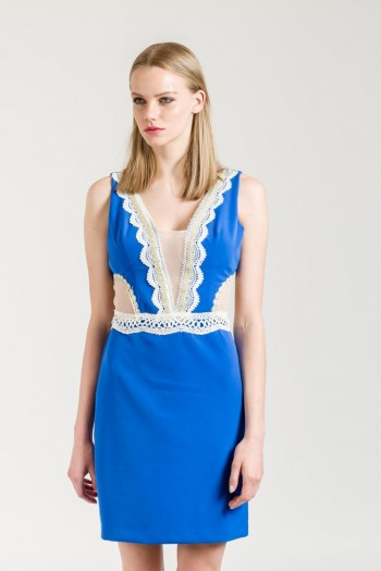 MINI DRESS WITH LACE AND MESH PANELS