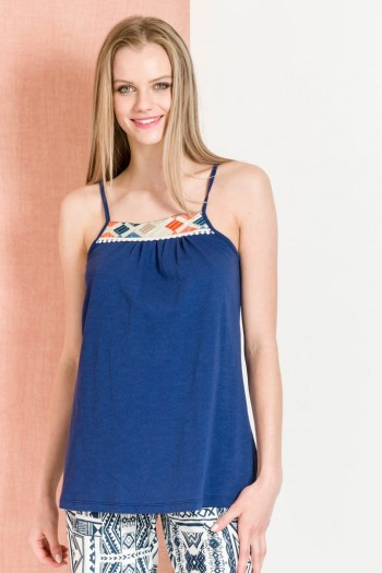TIE SHOULDER STRAP TOP WITH ETHNIC EMBROIDERY